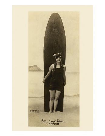 The Surf-Rider Hawaii, Girl with Surfboard, Photo Postcard c.1910