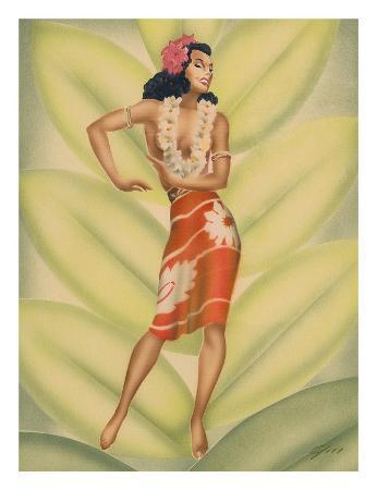 Graceful Dancer, Hawaiian Hula Dancer c.1940s