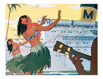 Hula Greeting on Boat Day, Honolulu Harbor, Hawaii, c.1930