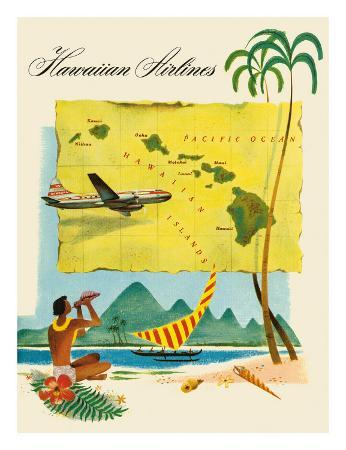 Hawaiian Airlines, Travel Brochure, c.1950s