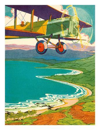 Bi-Plane Over The Hawaii Coastline, c.1928