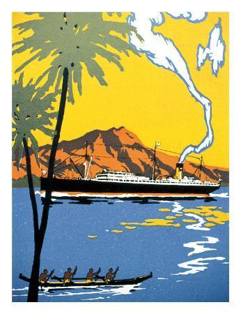 Steamship and Hawaiian Outrigger Canoe, c.1930