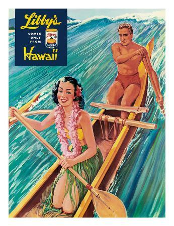 Surfing on Outrigger Canoe, Libby's Pineapple Hawaii, c.1957