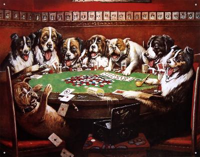 Eight Dogs Playing Cards