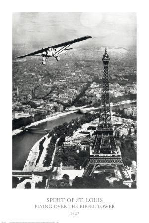Spirit of St. Louis Flying over he Eiffel Tower, 1927