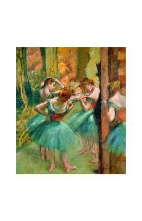 Dancers in Pink and Green