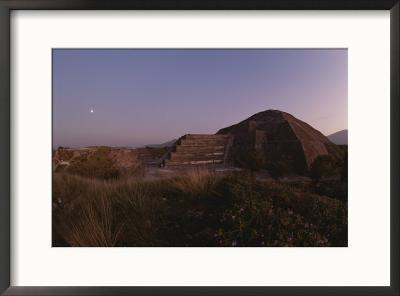 Full moon over the Pyramid of the Moon at daybreak