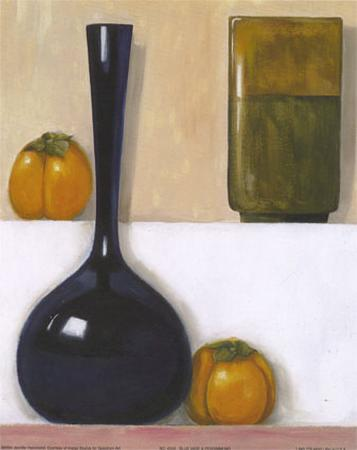 Blue Vase and Persimmons
