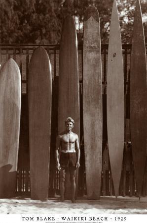 Tom Blake on Waikiki Beach, 1929