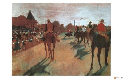 Race Horses in Front of the Grandstand