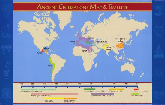 World Map Ancient Civilizations.Ancient Civilizations Map Timeline Posters At Allposters Com
