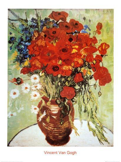 Vase With Daisies And Poppies Prints By Vincent Van Gogh At