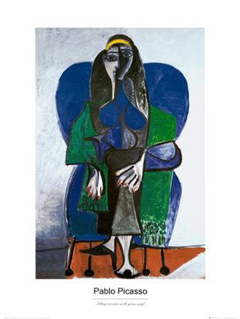 Sitting Woman with Green Scarf