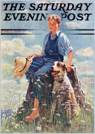 Boy and Dog in Nature
