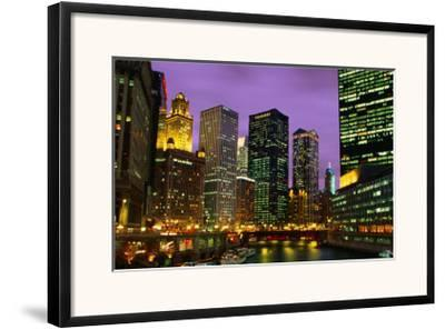 The City And River From The Michigan Bridge.,Chicago, Illinois, U.S.A.