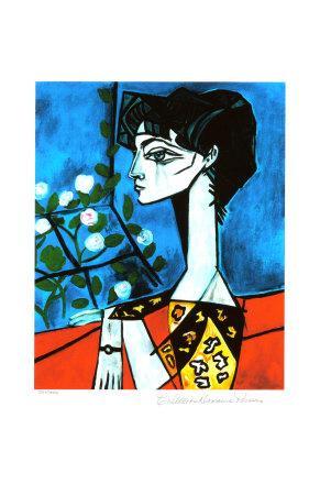 Portrait of Jacqueline Roque with Flowers