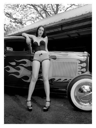 Pin-Up Girl: Ford Coupe Flames