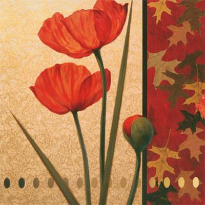 Red Poppy with Teal Damasque