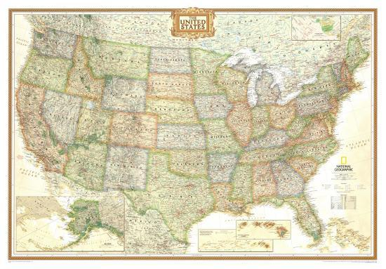 National Geographic United States Political Map Executive Style - Giant-us-map