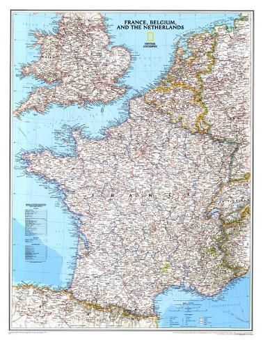 Map of France Belgium And The Netherlands Posters at AllPosterscom