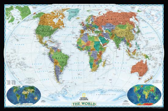 National Geographic World Political Map.National Geographic World Political Map Decorator Style Giant