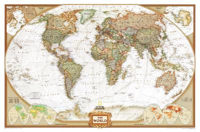 World Political Wall Map, Executive Style Antique Tones Educational Enlarged Poster