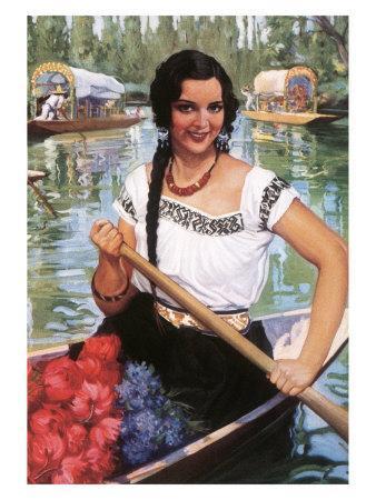Señorita in Boat with Flowers