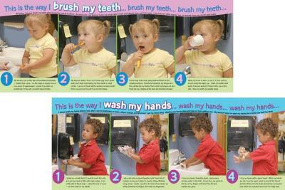 Wash My Hands/Brush My Teeth, 2 part laminated poster set