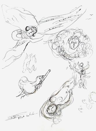 Plafond de l'Opéra: la Flute Enchantee