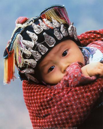 Miao Baby Wearing Traditional Hat