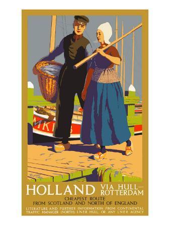 Holland Via Hull-Rotterdam, LNER Poster, 1923-1947