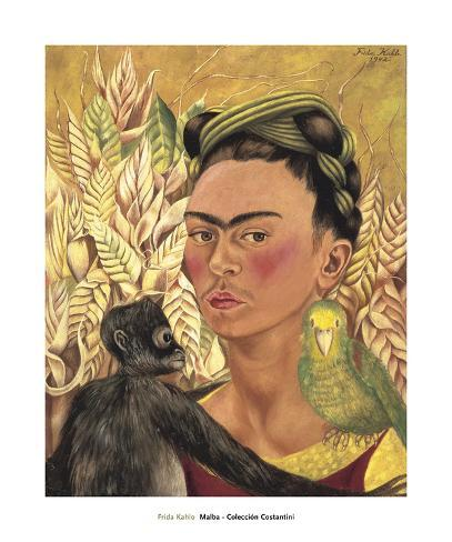 monkey black cat flowers PRINT Frida Kahlo