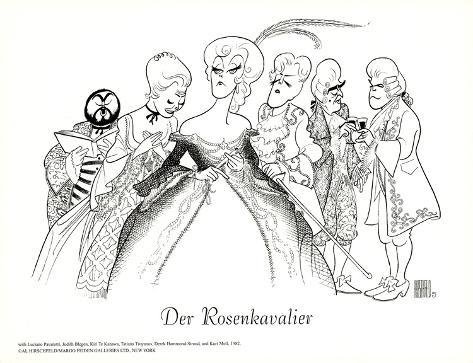 der rosenkavalier  with pavarotti poster by al hirschfeld at allposters com