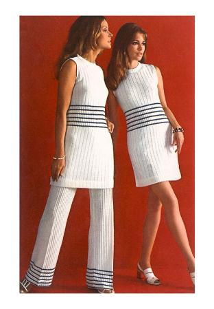 Fashion Models with Blue-Striped Outfits
