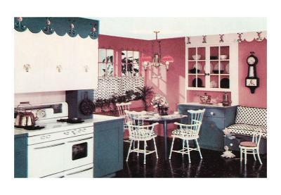 Pink and Blue Kitchen and Breakfast Nook