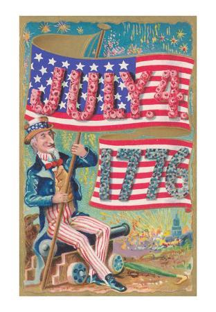 Uncle Sam with Banner and Flowers