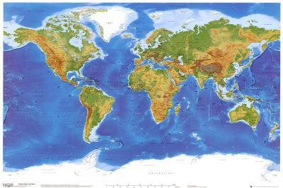 Satellite Physical Map Of The World Photo At Allposters Com