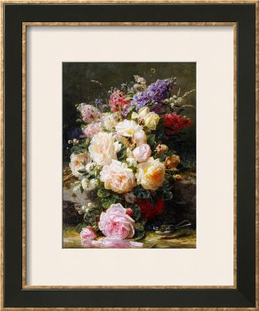 Still Life with Roses, Syringas and a Blue Tit on a Mossy Bank