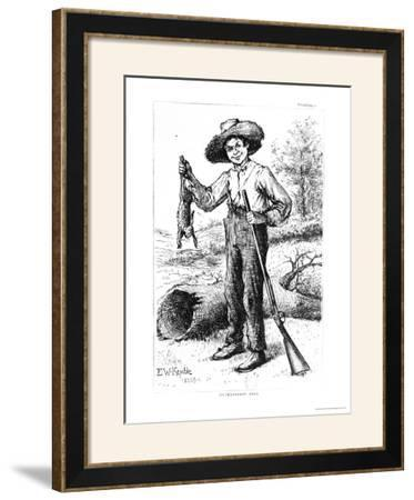 """Frontispiece to """"The Adventures of Huckleberry Finn,"""" by Mark Twain 1884"""