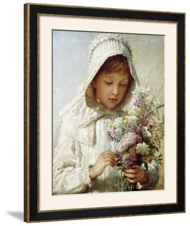 The Month of September, a Young Girl in White, Holding a Bunch of Flowers