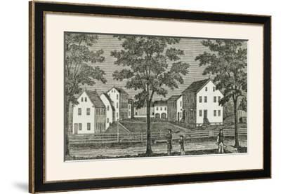 """Shaker Houses in Enfield, from """"Connecticut Historical Collections,"""" by John Warner Barber, 1856"""