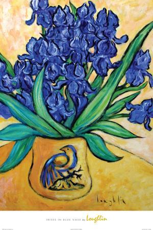 Irises in Blue Vase