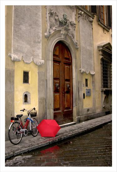 Red Umbrella And Bicycle At The Door Florence Prints By