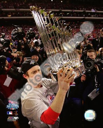 Chase Utley With World Series Trophy