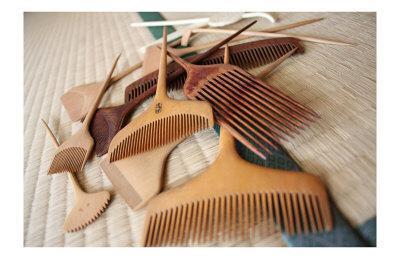 Geisha's Wooden Combs on Tatami Mat