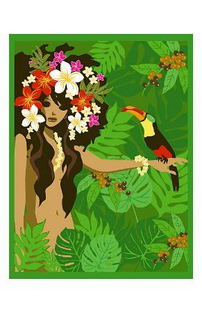 Girl in Tropical Paradise with Flowers