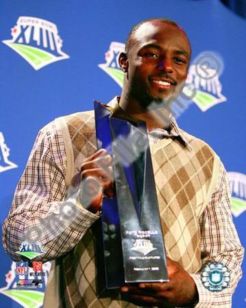 Santonio Holmes With MVP Trophy - Super Bowl XLIII