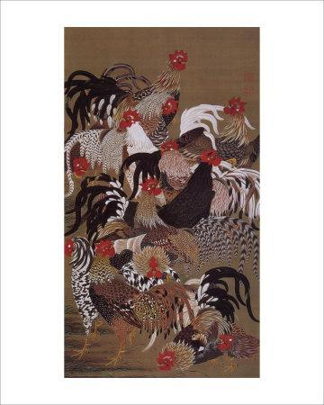 Japanese Rooster with Sunflower in Summer