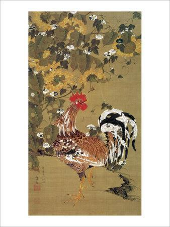 Japanese Rooster under the Grape Tree