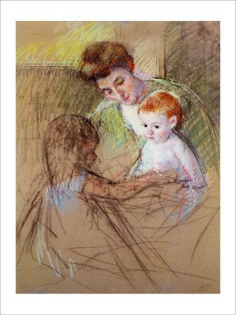 Sketch of Mother and Daughter Looking at the Baby